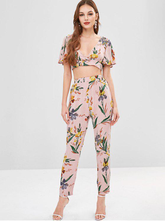 trendy ZAFUL Low Cut Floral Print Pants Set - LIGHT PINK XL