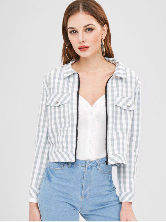 fashion ZAFUL Zip Up Plaid Jacket - LIGHT GRAY S