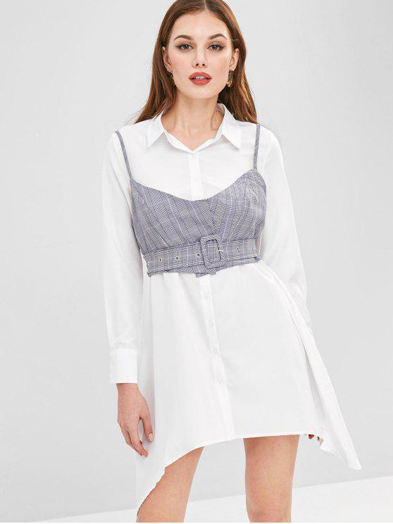 womens ZAFUL Plaid Cami Top Belted Asymmetric Dress - WHITE XL