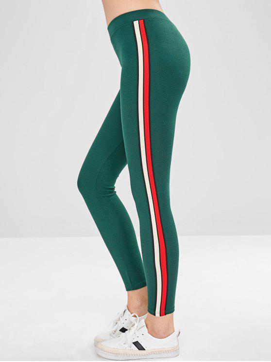 Legging Epais à Bordure Rayée - Vert Taille Unique