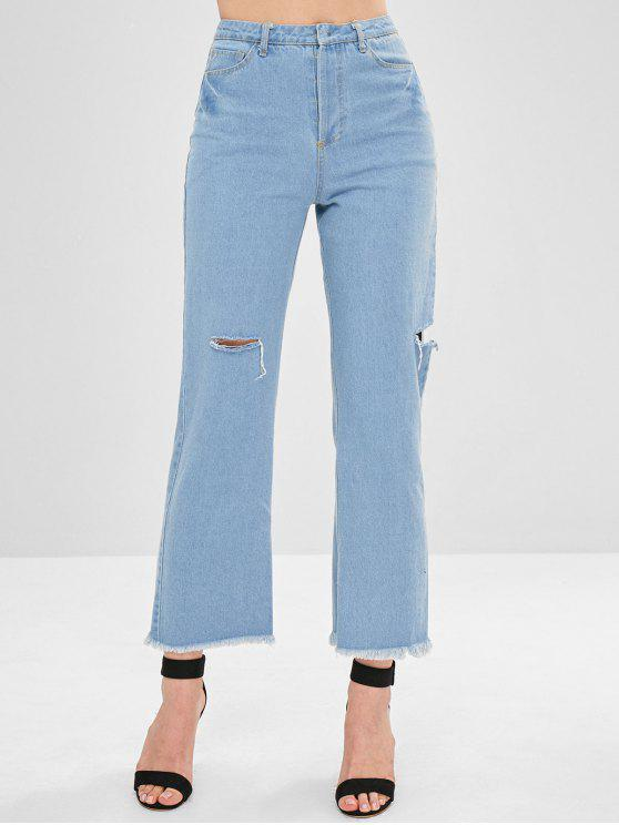lady Distressed Button Fly Reversible Jeans - LIGHT BLUE S