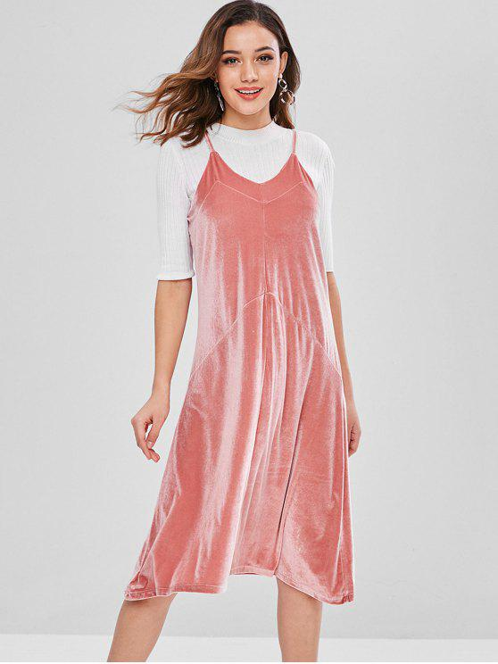 latest Casual Velvet Cami Dress - LIGHT PINK ONE SIZE