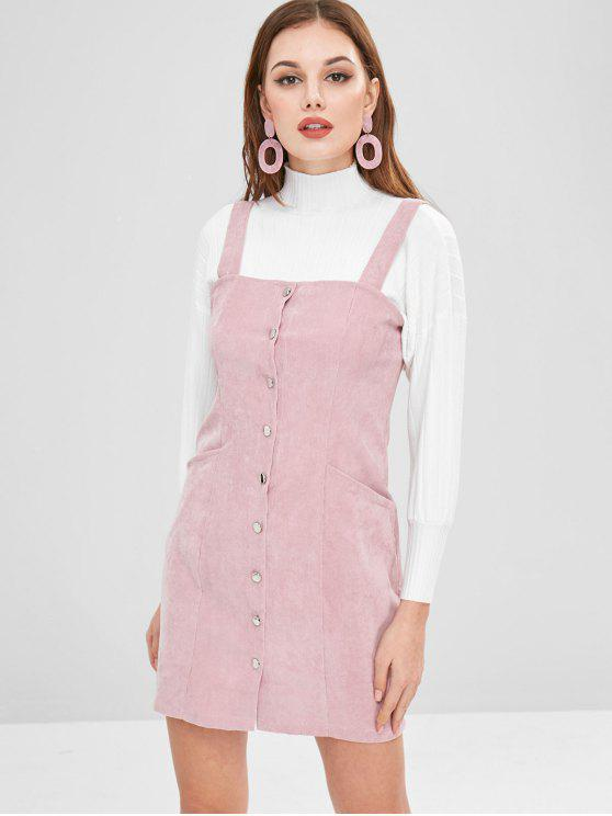 unique Button Through Corduroy Pinafore Mini Dress - PINK M