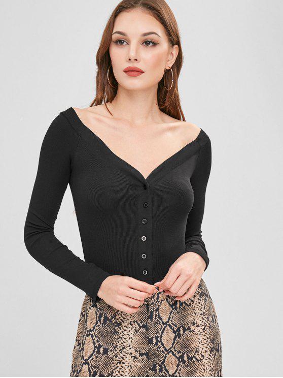 ladies Half-button Ribbed Bodysuit - BLACK M