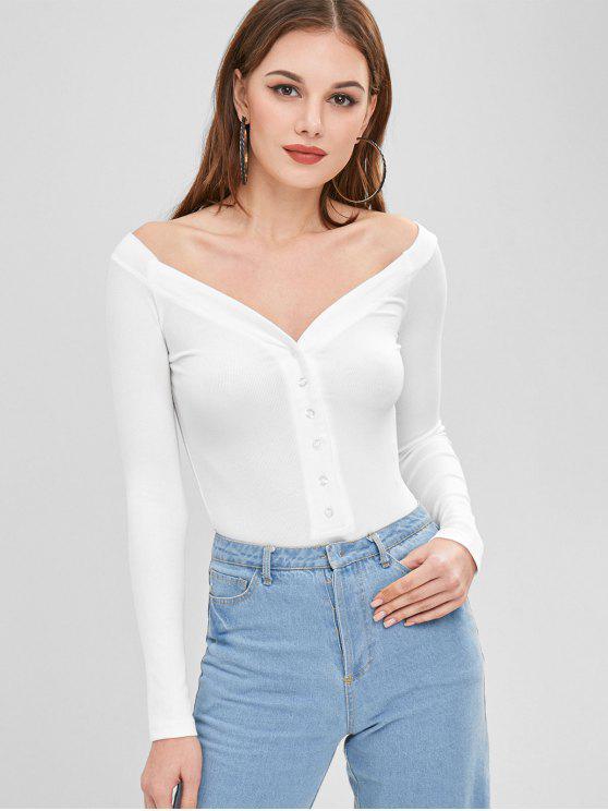trendy Half-button Ribbed Bodysuit - WHITE S