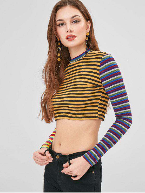 unique Colorful Striped Crop Top - MULTI L