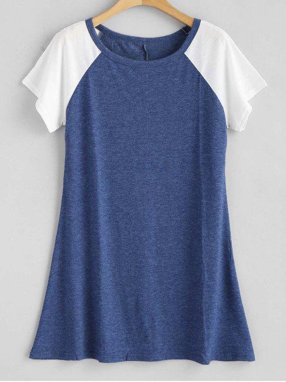 affordable Contrasting Raglan Sleeve Tunic Tee - BLUE S