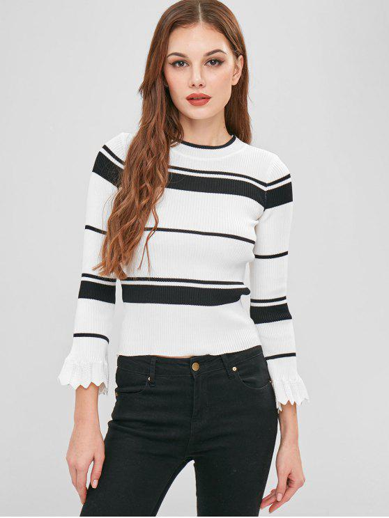 hot Striped Bell Sleeve Ribbed Sweater - MULTI ONE SIZE