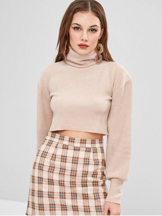 shop Raw Hem Turtleneck Sweater - BEIGE L