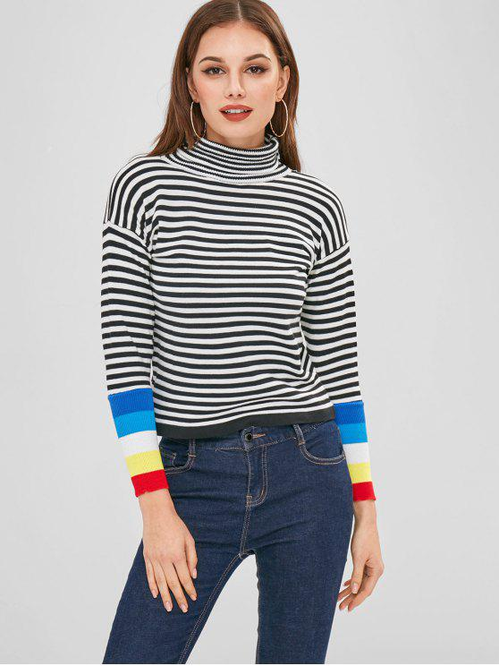 trendy Striped High Neck Drop Shoulder Sweater - BLACK ONE SIZE