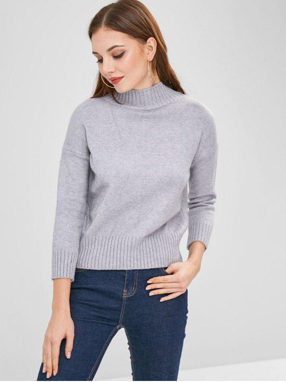 fancy Ribbed Trims Soft Drop Shoulder Sweater - LIGHT GRAY ONE SIZE