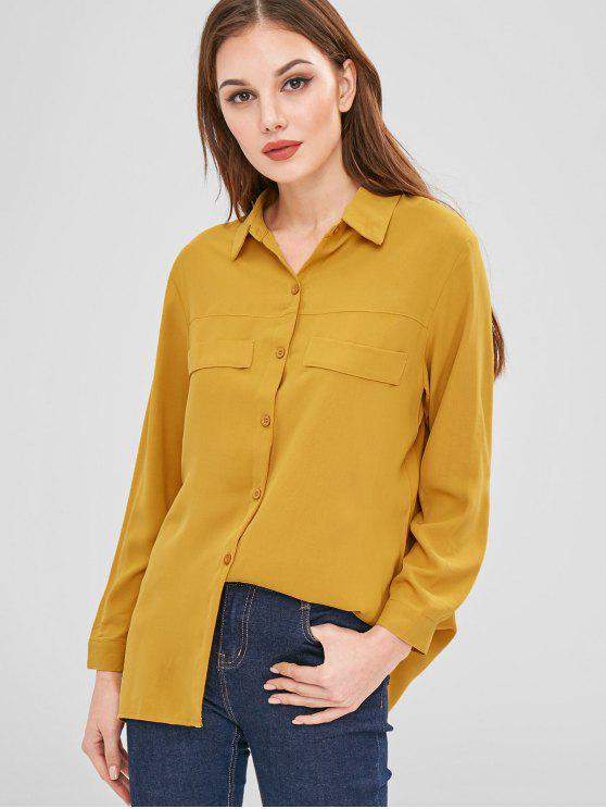 buy Relaxed Fit Flowing Shirt - MUSTARD XL