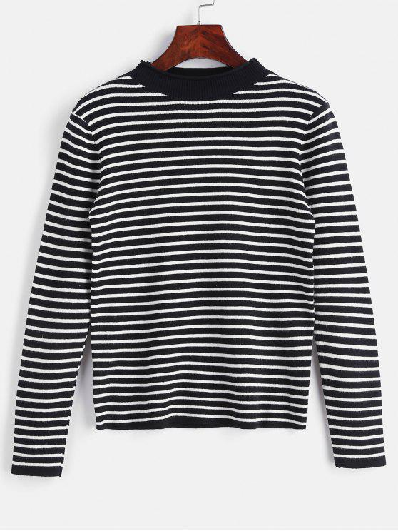 affordable Striped Slim Knit Sweater - BLACK ONE SIZE
