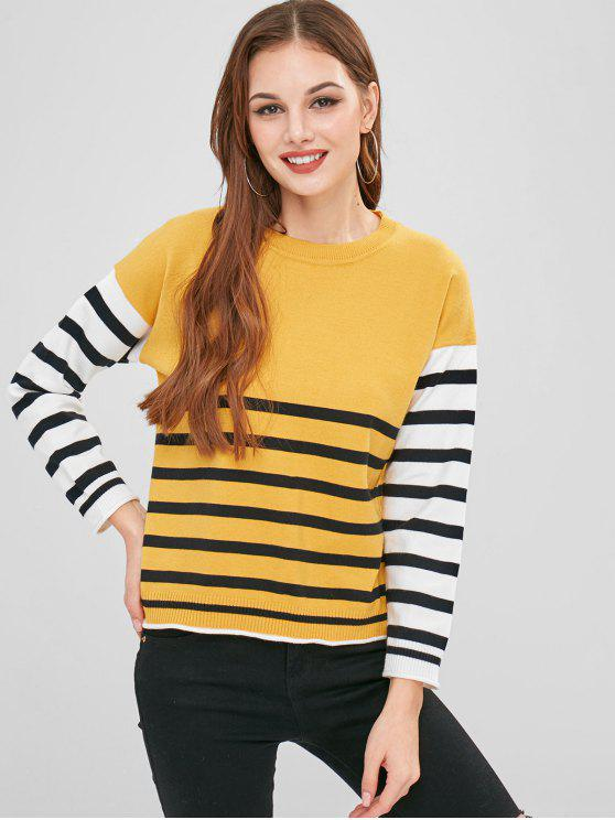 best Contrasting Sleeve Drop Shoulder Striped Sweater - MUSTARD ONE SIZE