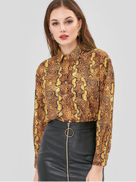 chic Snake Skin Pattern Print Shirt - MULTI L