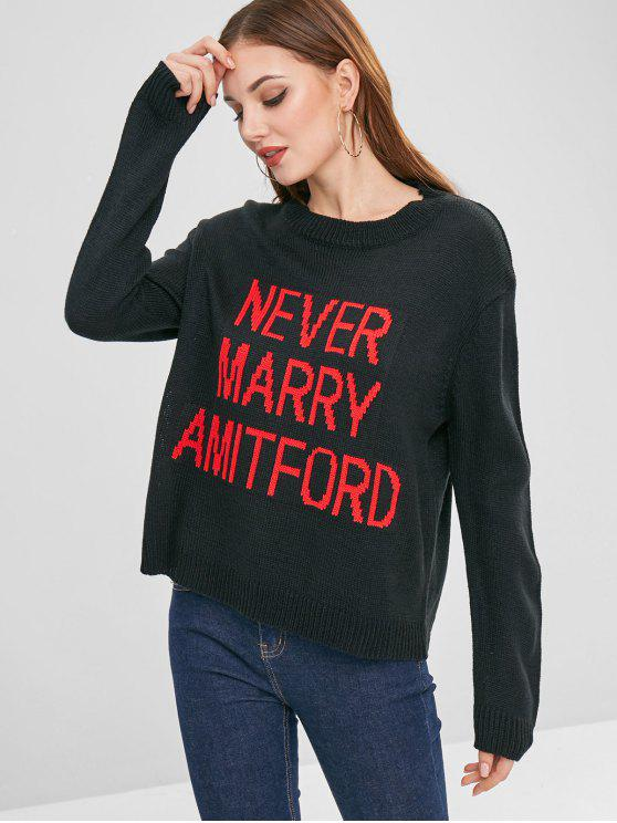 womens Drop Shoulder Letter Sweater - BLACK ONE SIZE