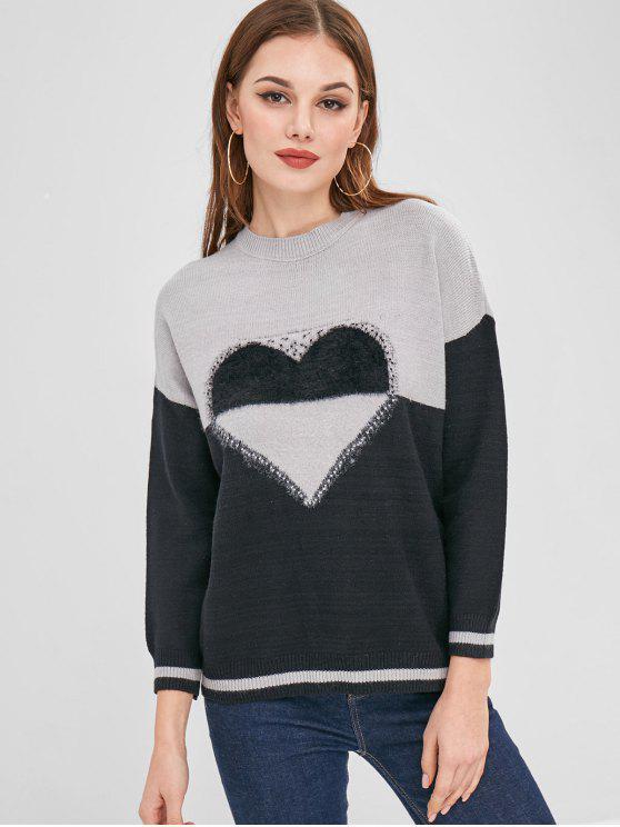 hot Heart Jacquard Color Block Sweater - MULTI ONE SIZE