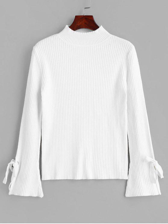 fashion Mock Neck Ribbed Tie Flare Sleeves Knitwear - WHITE ONE SIZE