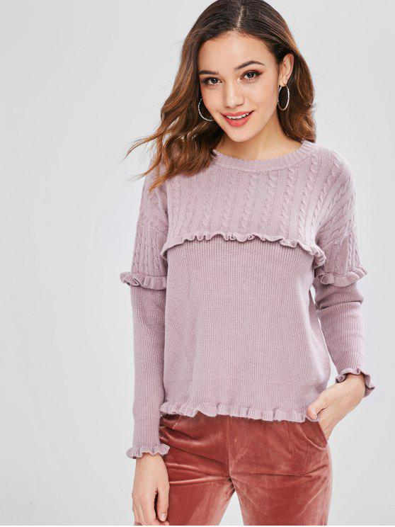 affordable Ruffles Cable Knit Pullover Sweater - WISTERIA PURPLE ONE SIZE