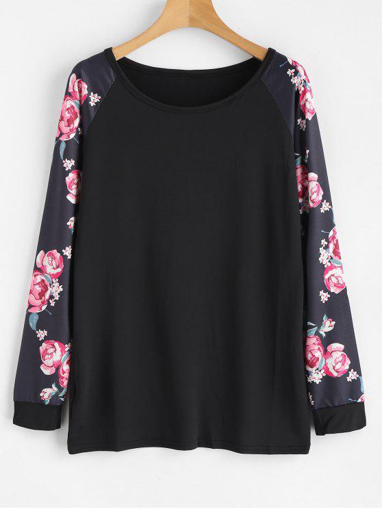 womens Long Floral Print Raglan Sleeve Tee - BLACK XL