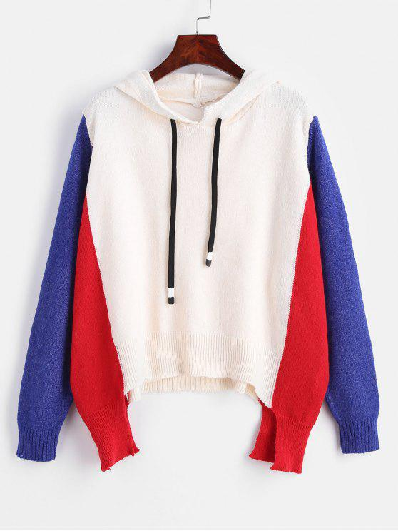 online Asymmetric Hooded Color Block Sweater - MULTI ONE SIZE