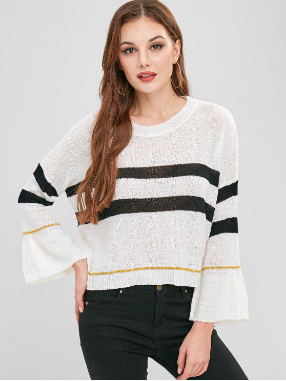 new Drop Shoulder Striped Oversized Sweater - WHITE ONE SIZE