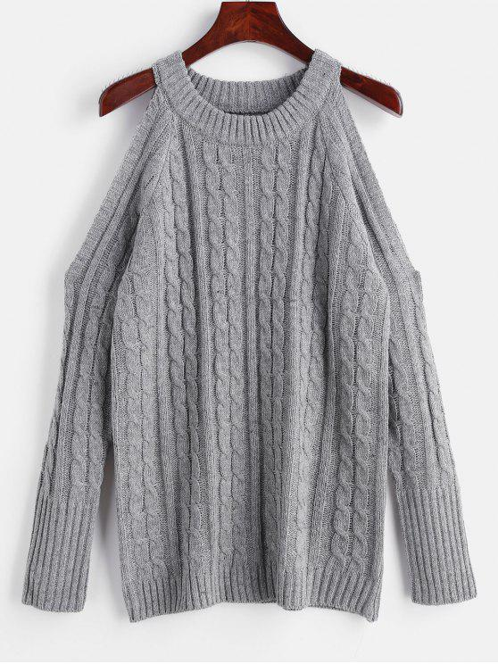 fashion Cable Knit Sweater with Cold Shoulder - GRAY XL