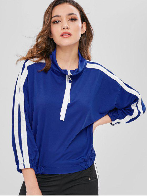 chic Side Striped Half Zip Sweatshirt - BLUE L
