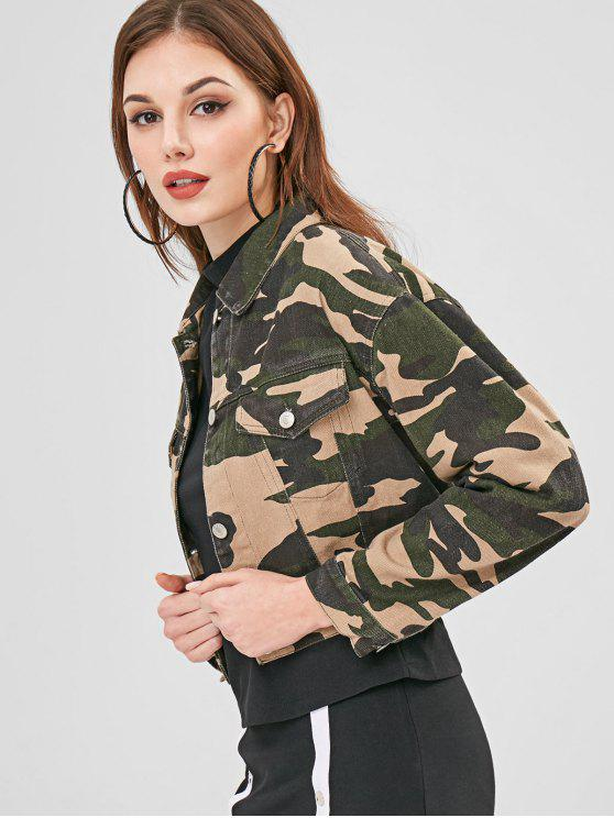 affordable Camo Cropped Denim Jacket - ACU CAMOUFLAGE L