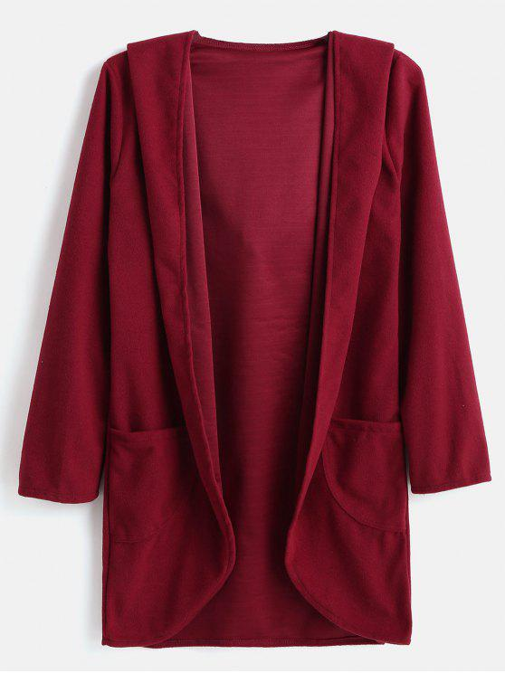 9213b48a133 29% OFF  2019 High Low Hem Hooded Cardigan Coat In RED WINE
