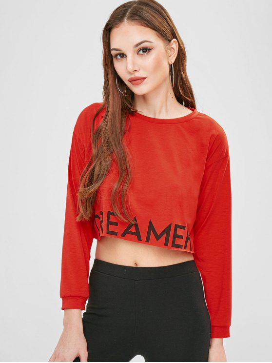 4a1432a31ffd04 26% OFF] 2019 Graphic Long Sleeves Crop Top In RED   ZAFUL