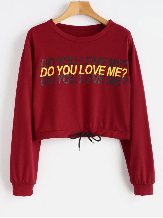 8bea25227 21% OFF] 2019 Cropped Do You Love Me Graphic Sweatshirt In RED WINE ...