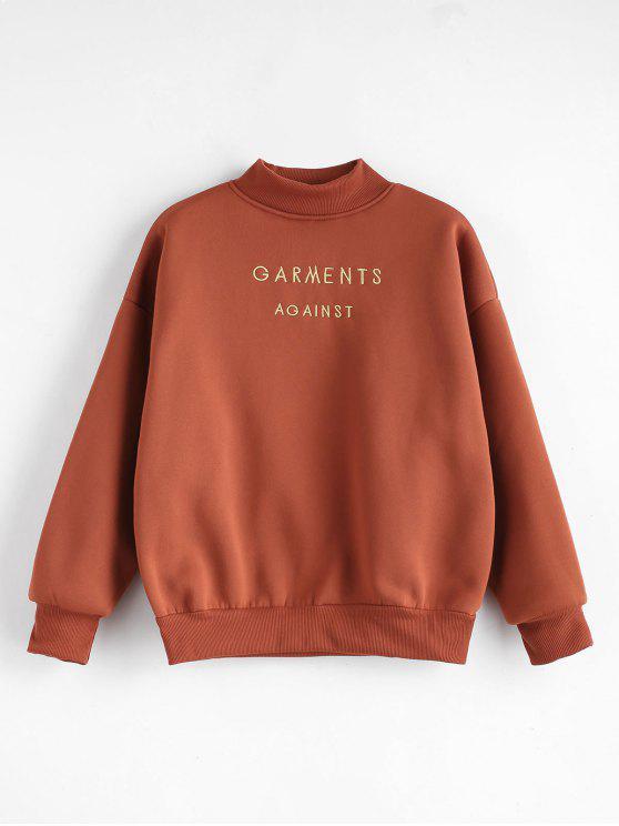 ladies Mock Neck Embroidered Sweatshirt - CHESTNUT M