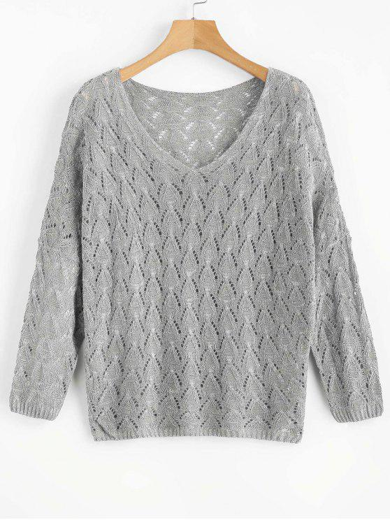 trendy V Neck Loose Hollow Out Sweater - LIGHT GRAY ONE SIZE