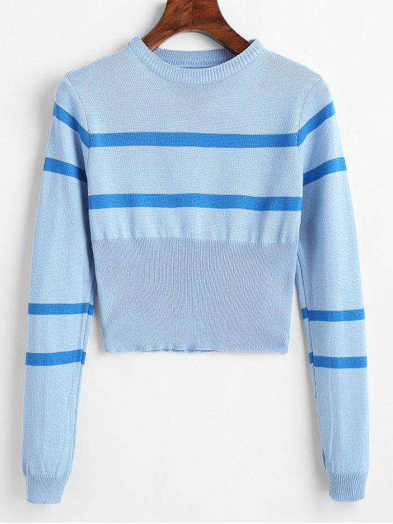 outfit Striped Round Neck Short Sweater - LIGHT BLUE ONE SIZE
