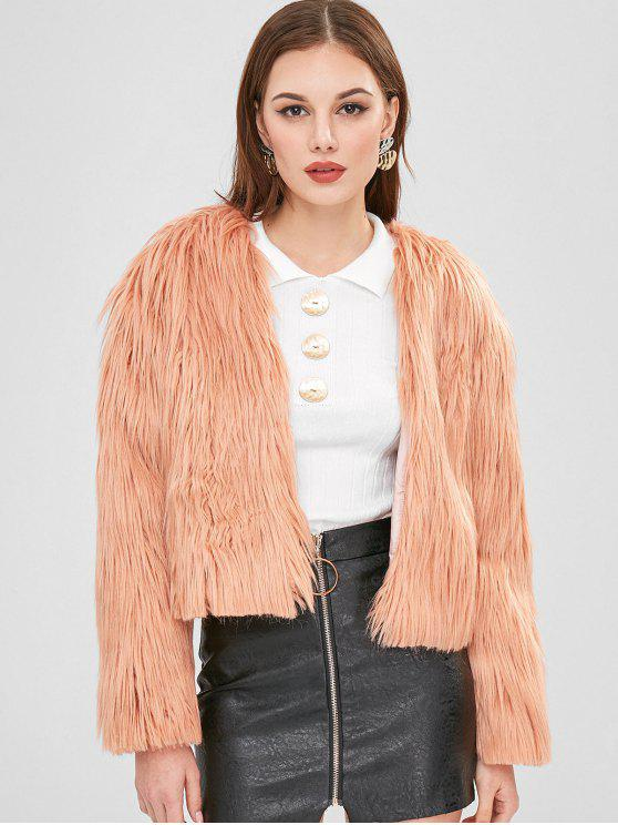 trendy ZAFUL Open Front Fluffy Coat - ORANGE PINK S