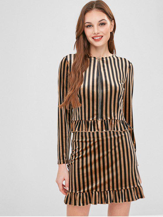 women ZAFUL Ruffles Striped Velvet Skirt Set - TAN M