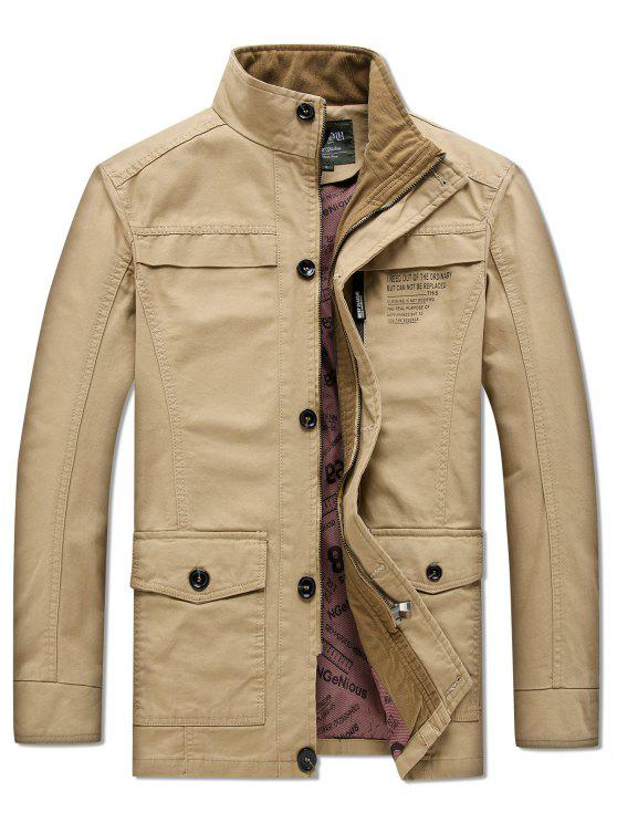 trendy Solid Pockets Zipper Letters Print Casual Coat - TAN L