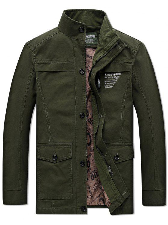 lady Solid Pockets Zipper Letters Print Casual Coat - ARMY GREEN L