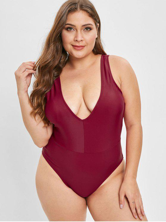 Bañador ZAFUL Plunge Plus Size One Piece - Vino Tinto 3X