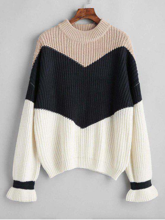 shop Chunky Knit Color Block Sweater - APRICOT ONE SIZE