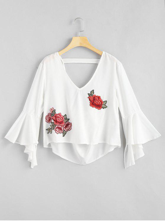 trendy Floral Applique Draped Open Back Bell Sleeve Top - WHITE S