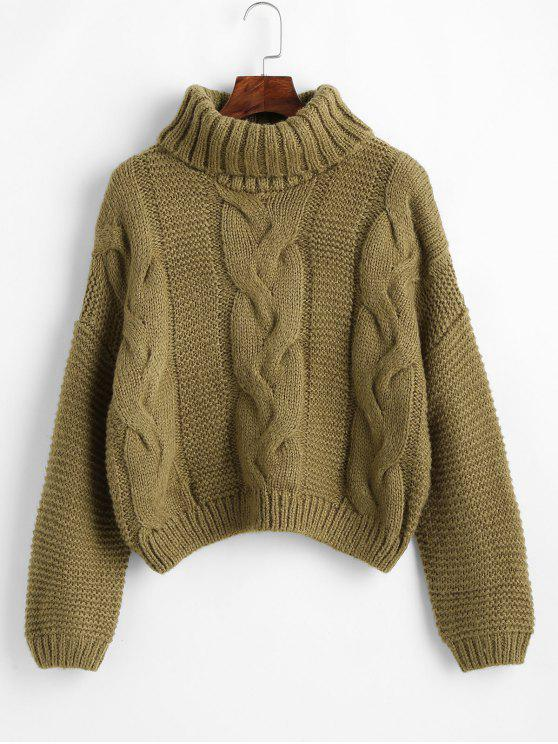 shops Drop Shoulder Cable Knit Turtleneck Chunky Sweater - OAK BROWN ONE SIZE