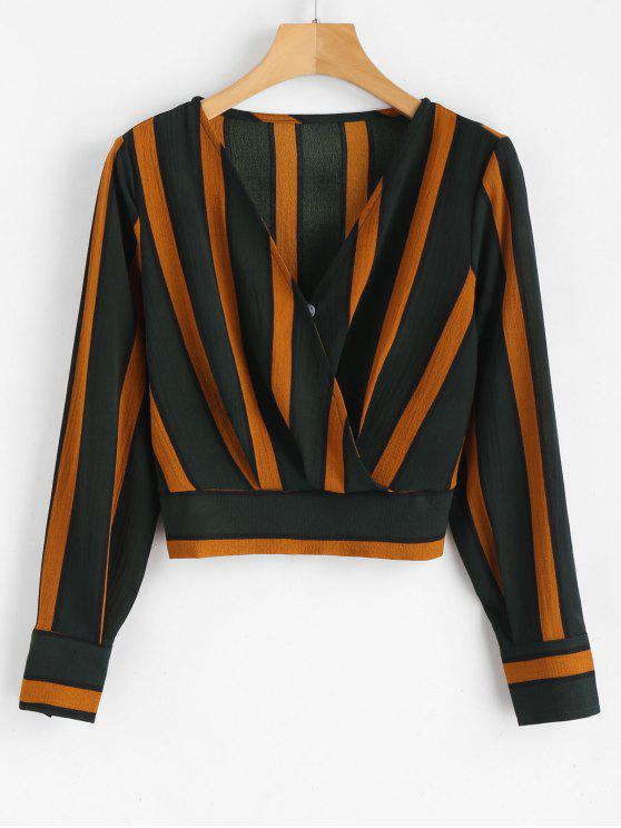 chic Striped Crop Surplice Blouse - MULTI M