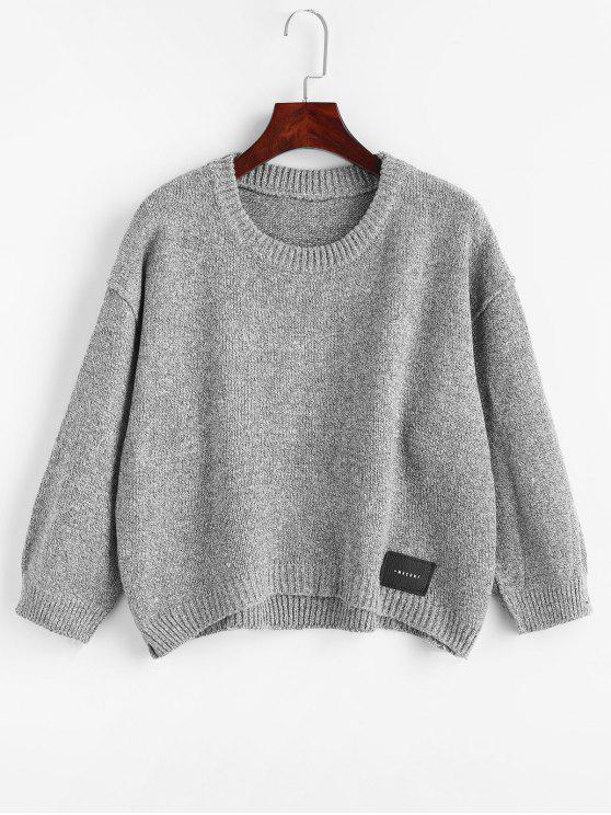 shops High Low Patch Design Sweater - GRAY ONE SIZE