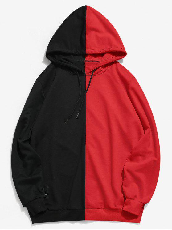 latest Contrast Patchwork Casual Hoodie - RED 2XL