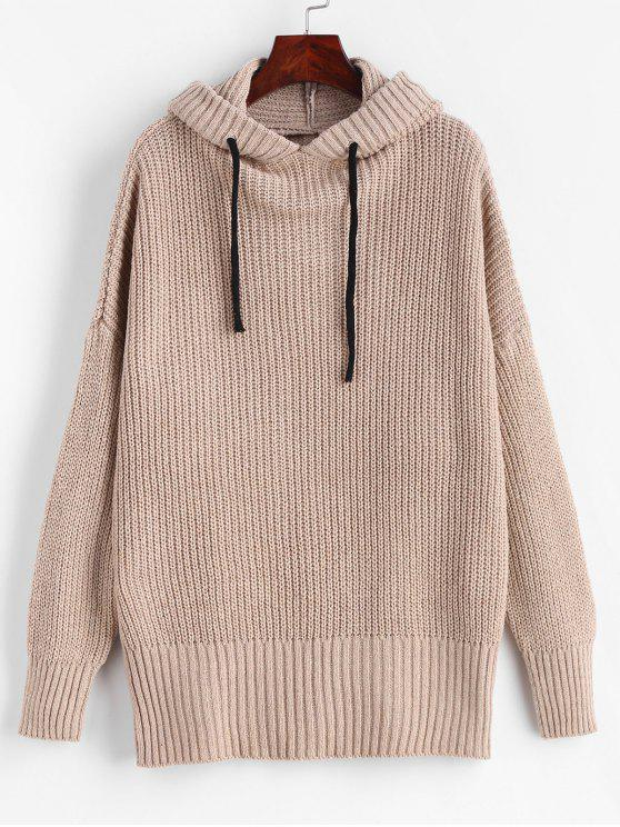 women's Drop Shoulder Chunky Hooded Sweater - CAMEL BROWN ONE SIZE