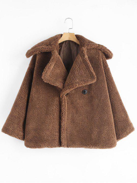 shop ZAFUL Two Button Lapel Fluffy Teddy Coat - DARK GOLDENROD S