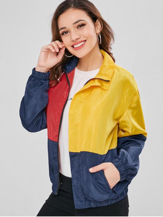 unique ZAFUL Zip Up Windbreaker Color Block Jacket - MULTI ONE SIZE