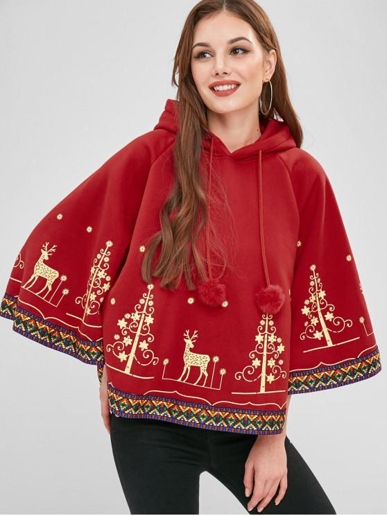 new Christmas Graphic Fleece Cape Hoodie - RED ONE SIZE